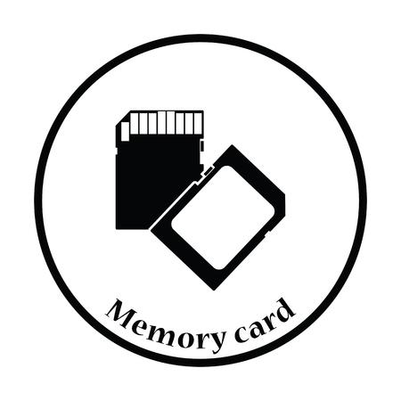 micro drive: Memory card icon. Flat color design. Vector illustration. Thin circle design. Vector illustration. Illustration