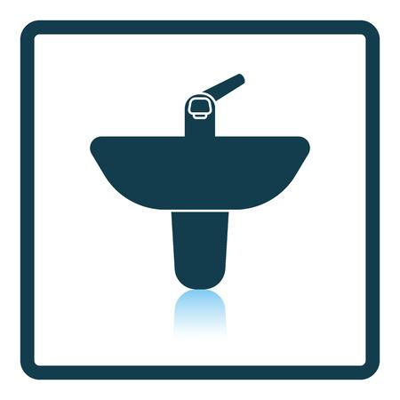 basin: Wash basin icon. Shadow reflection design. Vector illustration.