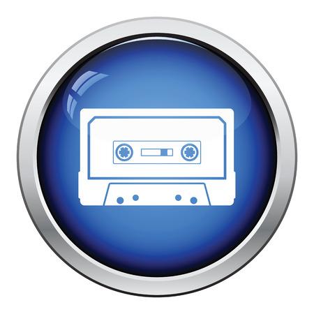 audio cassette: Audio cassette  icon. Glossy button design. Vector illustration.
