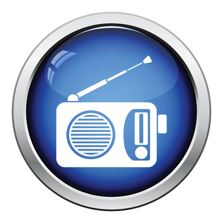 glossy button: Radio icon. Glossy button design. Vector illustration.
