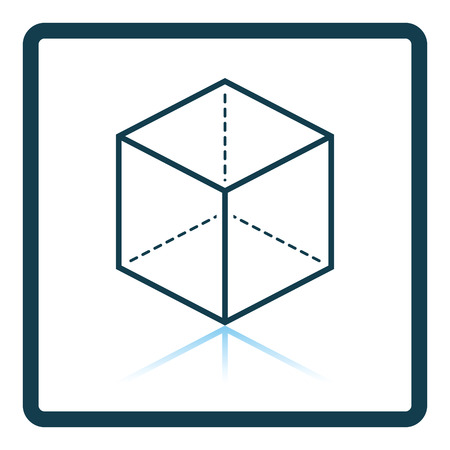 perspectiva lineal: Cube with projection icon. Shadow reflection design. Vector illustration.
