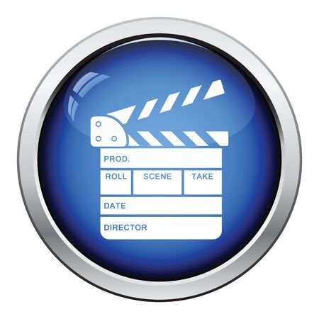 gloss: Clapperboard icon. Glossy button design. Vector illustration.