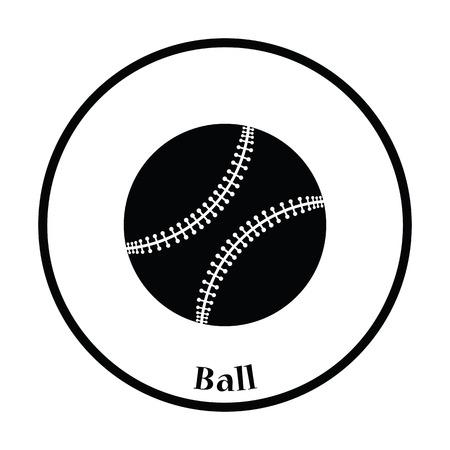 major league: Baseball ball icon. Thin circle design. Vector illustration.