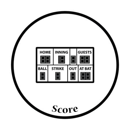 inning: Baseball scoreboard icon. Thin circle design. Vector illustration.