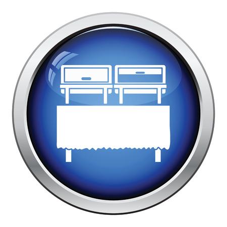 warmer: Chafing dish icon. Glossy button design. Vector illustration. Illustration