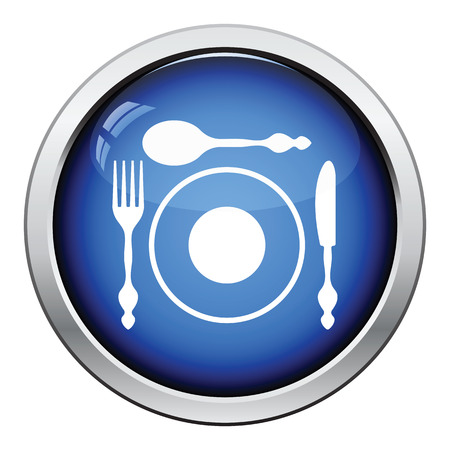 silverware: Silverware and plate icon. Glossy button design. Vector illustration.