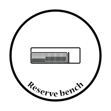 dugout: Baseball reserve bench icon. Thin circle design. Vector illustration.