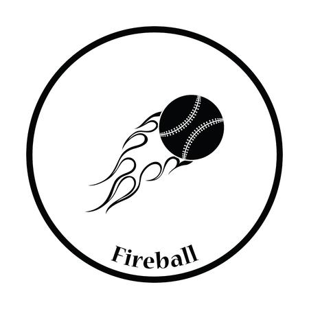 fire ball: Baseball fire ball icon. Thin circle design. Vector illustration. Illustration