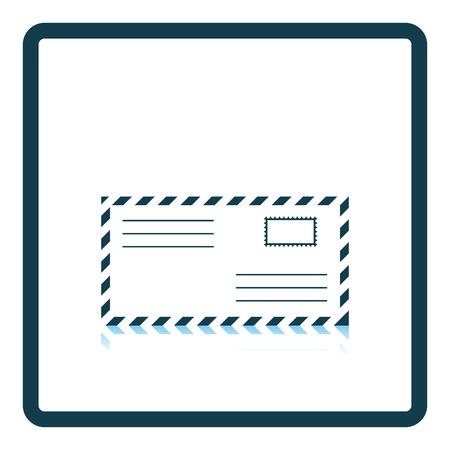 postscript: Icon of Letter. Shadow reflection design. Vector illustration.