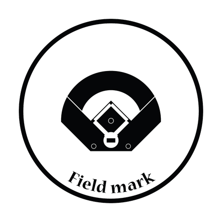 outfield: Baseball field aerial view icon. Thin circle design. Vector illustration.