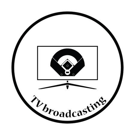 baseball diamond: Baseball tv translation icon. Thin circle design. Vector illustration.