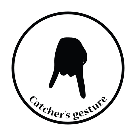 baseball catcher: Baseball catcher gesture icon. Thin circle design. Vector illustration.