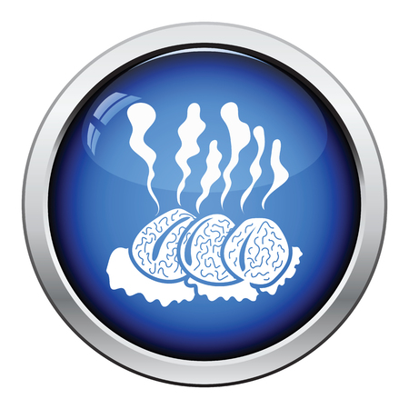 raw beef: Smoking cutlet icon. Glossy button design. Vector illustration.