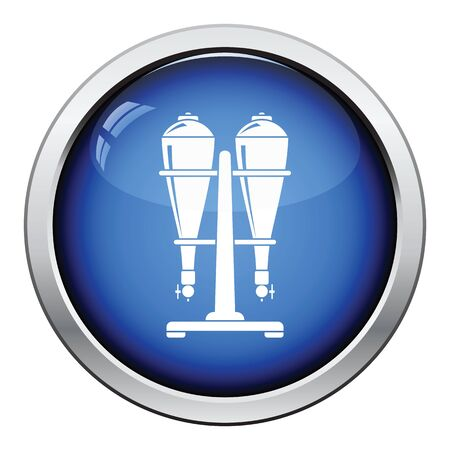 siphon: Soda siphon equipment icon. Glossy button design. Vector illustration.