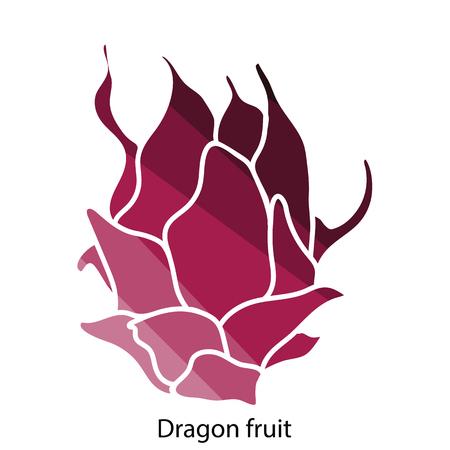 Dragon fruit icon. Flat color design. Vector illustration. Illustration