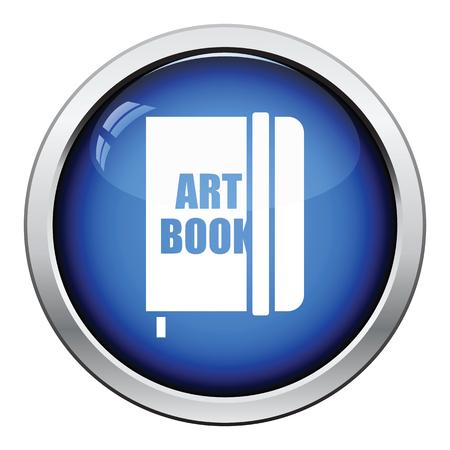 sketch book: Sketch book icon. Glossy button design. Vector illustration.