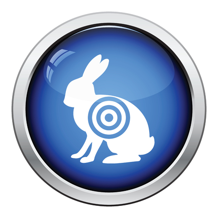 hunted: Hare silhouette with target  icon. Glossy button design. Vector illustration.