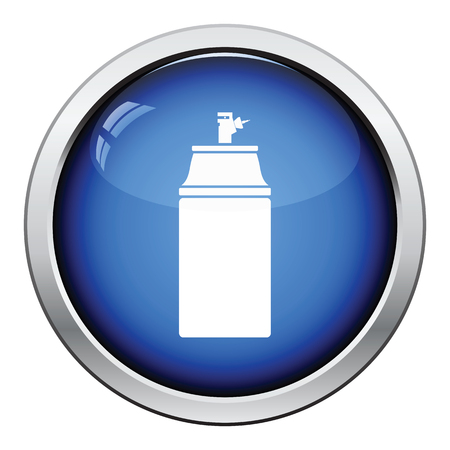 Paint spray icon. Glossy button design. Vector illustration.