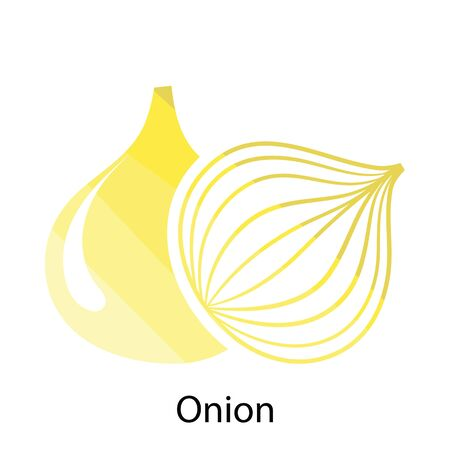 icon red: Onion icon. Flat color design. Vector illustration.