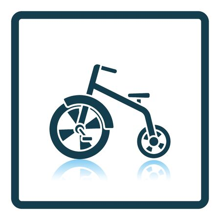 antique tricycle: Baby trike icon. Shadow reflection design. Vector illustration.
