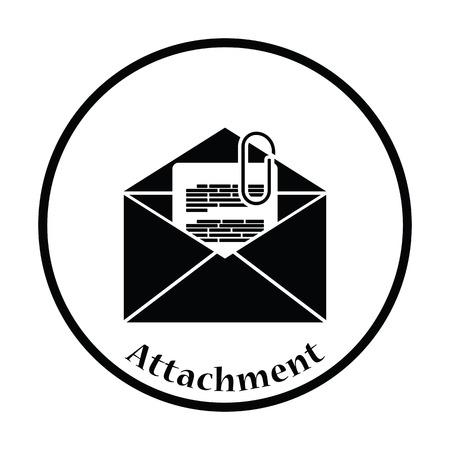 attachments: Mail with attachment icon. Thin circle design. Vector illustration.
