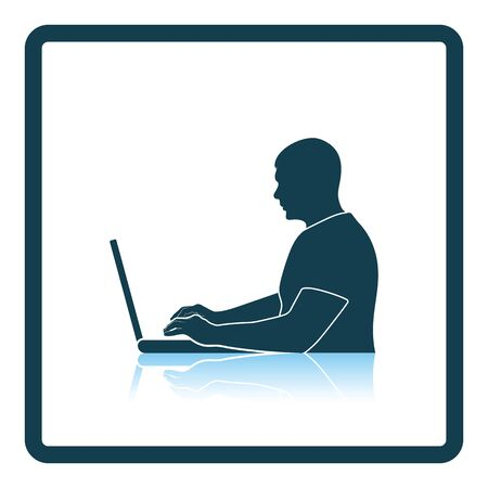 Writer at the work icon. Shadow reflection design. Vector illustration. Illustration