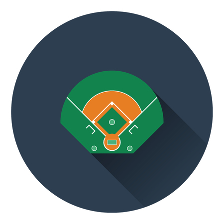 base: Baseball field aerial view icon. Flat color design. Vector illustration.