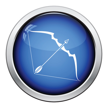 longbow: Bow and arrow icon. Glossy button design. Vector illustration.