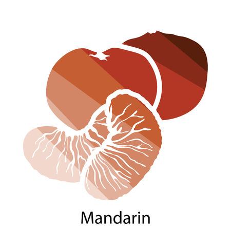 mandarin: Mandarin icon. Flat color design. Vector illustration.