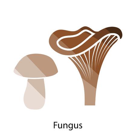 shiitake: Mushroom  icon. Flat color design. Vector illustration.