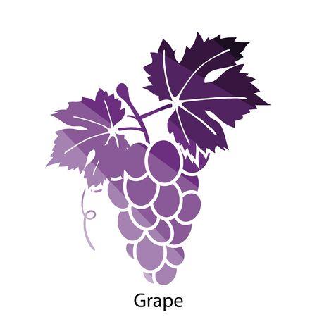 vines: Grape icon. Flat color design. Vector illustration.