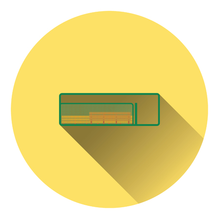 dugout: Baseball reserve bench icon. Flat color design. Vector illustration.