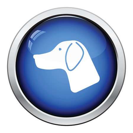 had: Hunting dog had  icon. Glossy button design. Vector illustration.