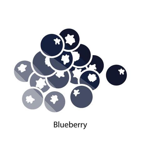 Blueberry-Symbol. Flache Farbgestaltung. Vektor-Illustration. Vektorgrafik