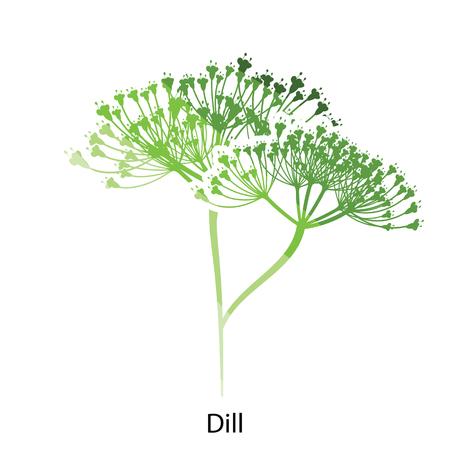 Dill icon. Flat color design. Vector illustration.