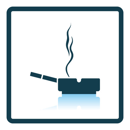 ashtray: Cigarette in an ashtray icon. Shadow reflection design. Vector illustration. Illustration