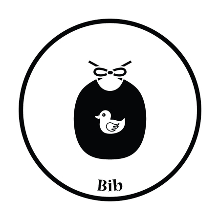 babero: Bib icon. Thin circle design. Vector illustration. Vectores