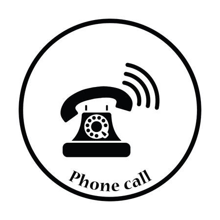 old telephone: Old telephone icon. Thin circle design. Vector illustration.