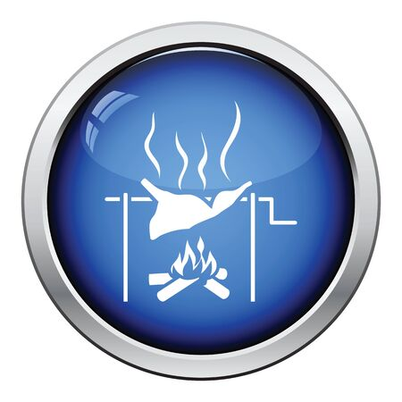 embers: Roasting meat on fire icon. Glossy button design. Vector illustration.