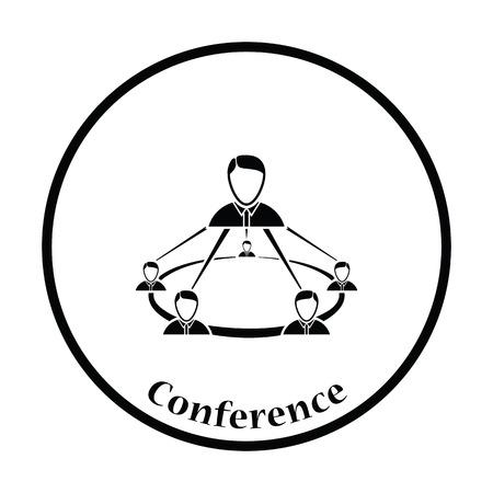 Business team icon. Thin circle design. Vector illustration.