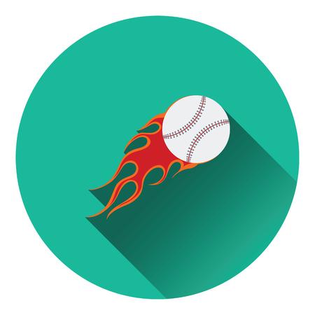fire ball: Baseball fire ball icon. Flat color design. Vector illustration.