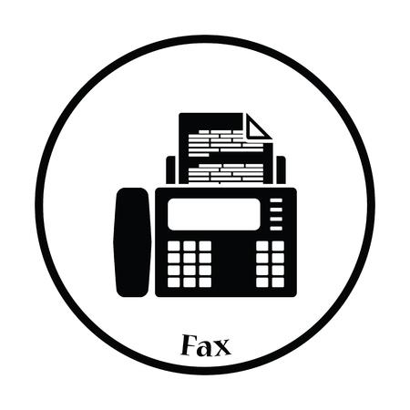 Fax-Symbol. Thin Kreisentwurf. Vektor-Illustration.