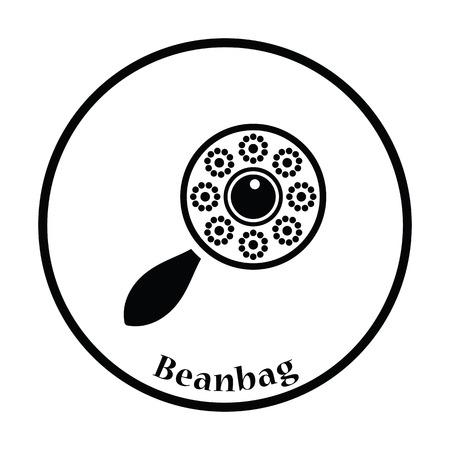 clack: Beanbag icon. Thin circle design. Vector illustration. Illustration