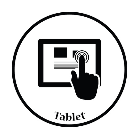Tablet icon. Thin circle design. Vector illustration. Illustration