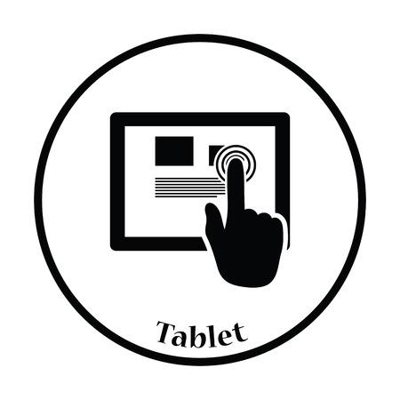 using senses: Tablet icon. Thin circle design. Vector illustration. Illustration