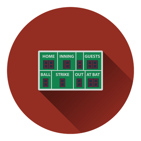 ballpark: Baseball scoreboard icon. Flat color design. Vector illustration.
