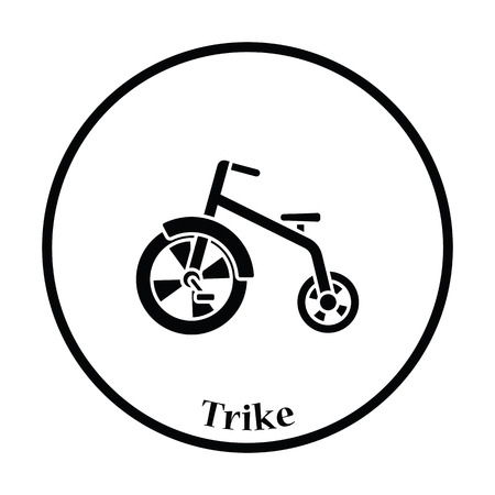 antique tricycle: Baby trike icon. Thin circle design. Vector illustration.
