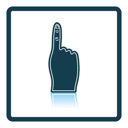 foam finger: Fans foam finger icon. Shadow reflection design. Vector illustration.