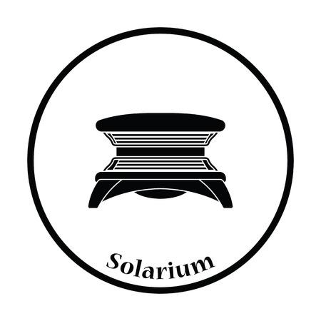Icono de Solarium. diseño del círculo delgada. Ilustración del vector.