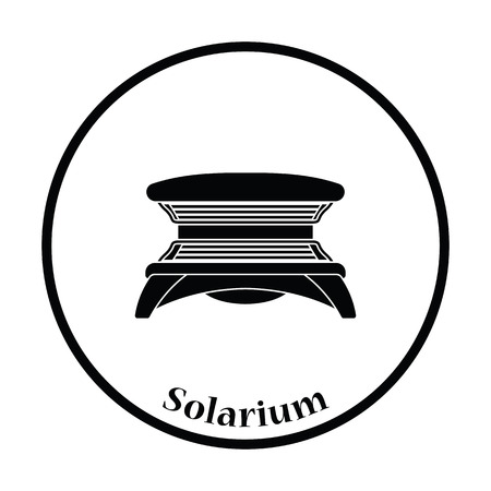 solarium: Icon of Solarium. Thin circle design. Vector illustration.